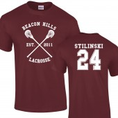 Beacon Hills Lacrosse T- Shirt Burgundy Stiles Stilinski Wolf 24 Teen Unisex up to 2XL
