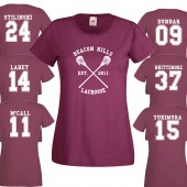 Beacon Hills Lacrosse LADIES T- Shirt Burgundy Stiles Stilinski Wolf 24 Teen Unisex - 2XL