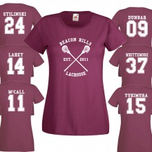 Beacon Hills Lacrosse LADIES T- Shirt Burgundy Stiles Stilinski Wolf 24 Teen Unisex up to 2XL