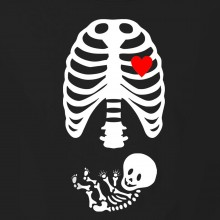 Halloween Pregnant Mother Skeleton Trick Or Treat Casual Costume Gift T-Shirt