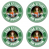 Star hairdresser inspired jedi division style coasters