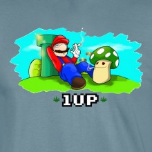 Mario 1UP 420 Funny T-shirt 16 Colours - to 2XL